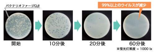 蛍光灯及びLED照明によるウイルス抑制効果実験